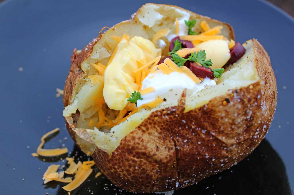 Steakhouse baked potato ready to eat