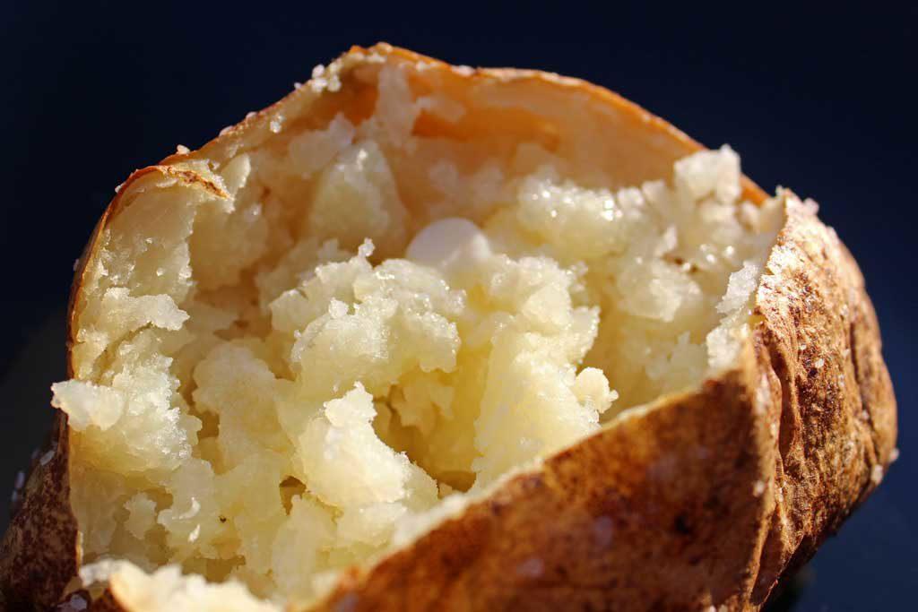 fluffy flesh of inside baked potato