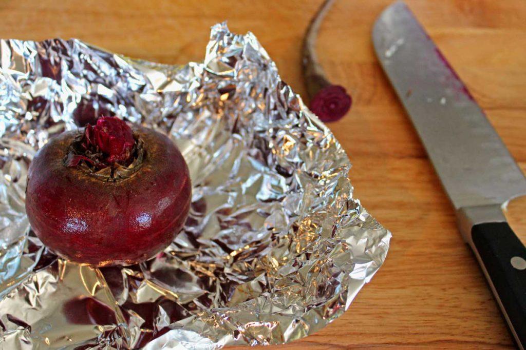 prepared beet in foil