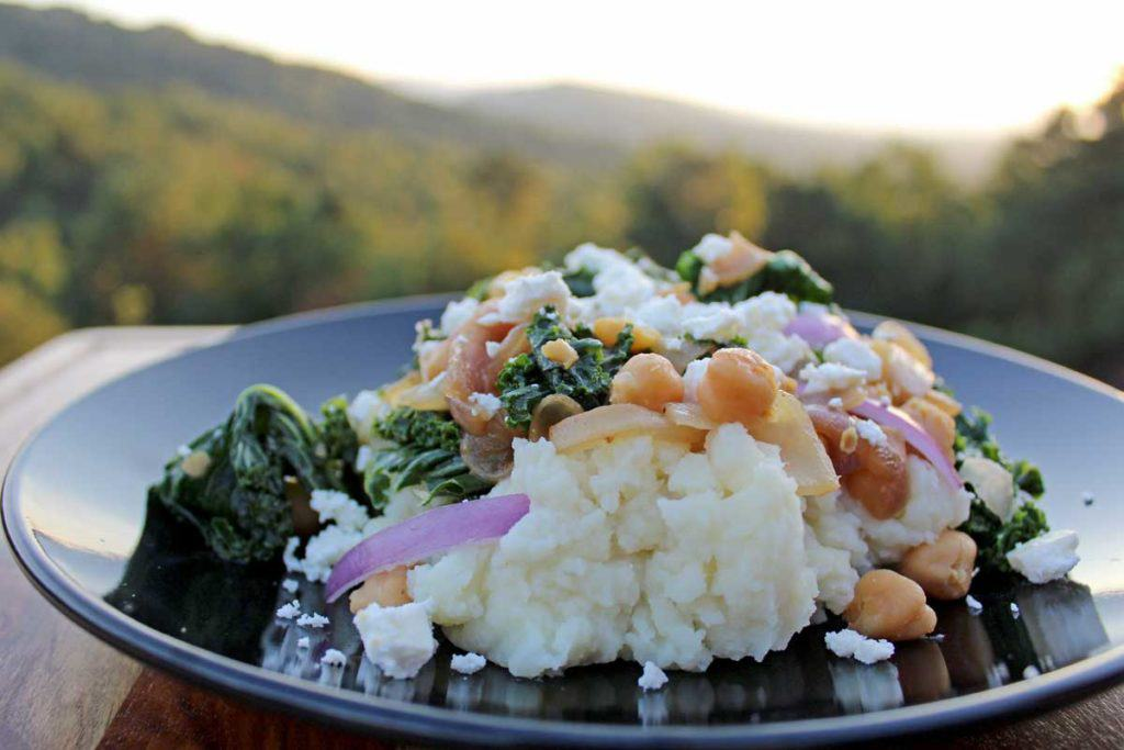 Kale Potato Mash is a new twist on classic mashed potatoes. Fluffy Dijon mashed potatoes with tender kale, red onion, chickpeas, and tangy feta cheese. Yum!