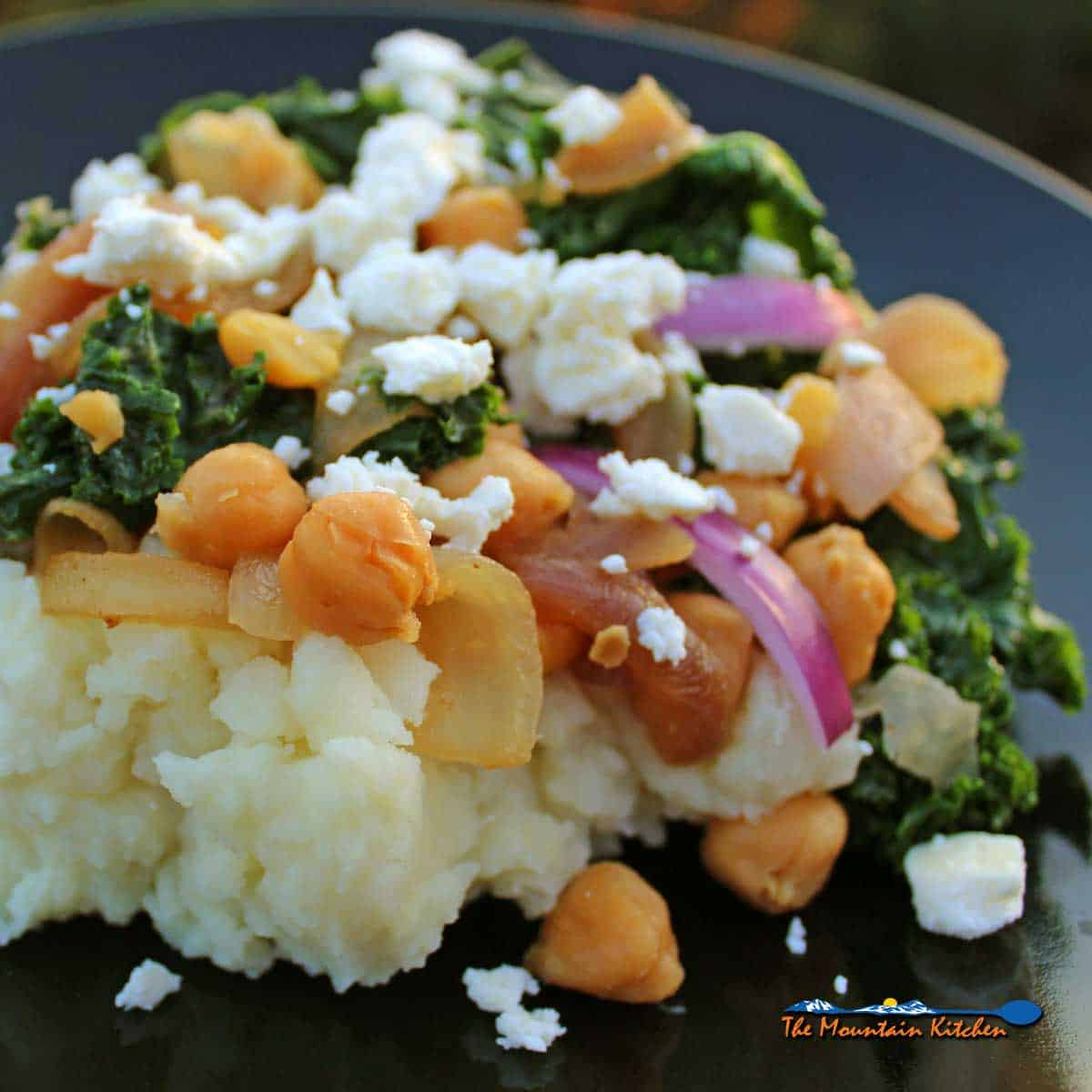 Kale Potato Mash With Chickpeas and Feta {A Meatless Monday Recipe