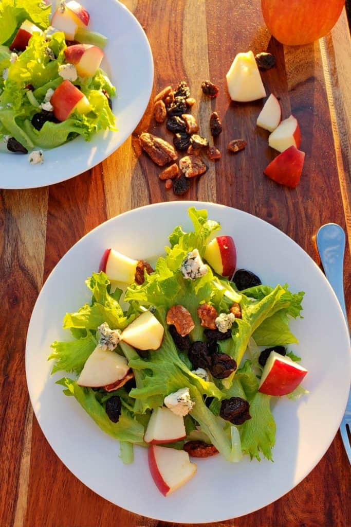 Try this healthy apple pecan and blue cheese salad with dried cherries, made of mixed greens, crisp apples, pecans, dried cherries, and creamy blue cheese!