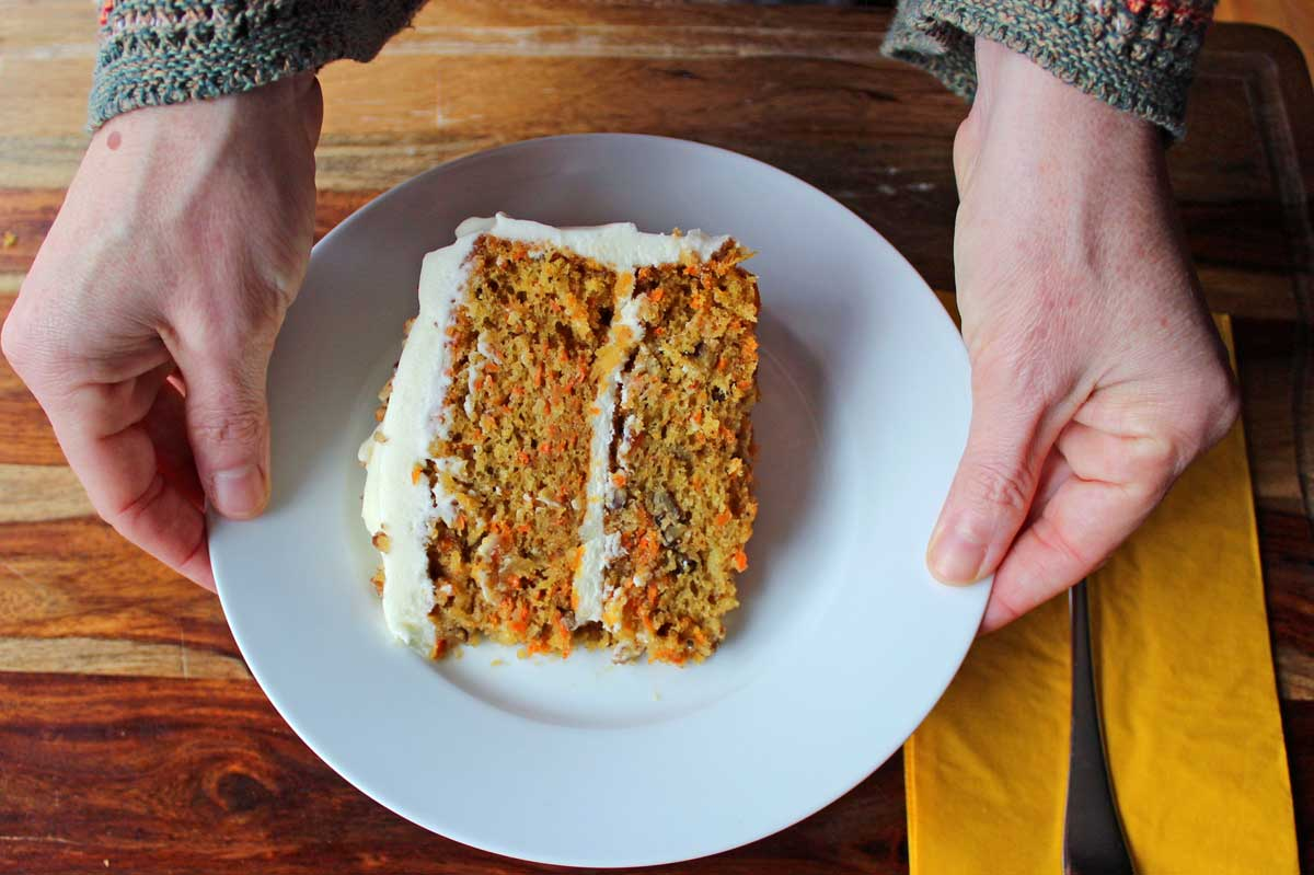 serving ultimate carrot cake