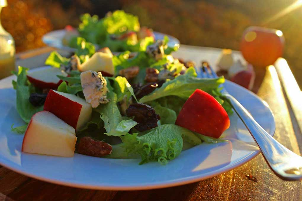 apple pecan and blue cheese salad with mountain view