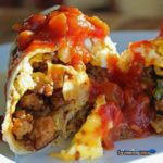 David's breakfast burritos are loaded in tortilla filled with chorizo sausage, eggs, cheddar cheese, poblano peppers, and potatoes. Served with spicy salsa!