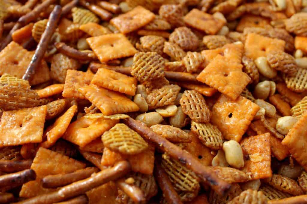 Crispix, Cheez-Its, Pretels and peanuts