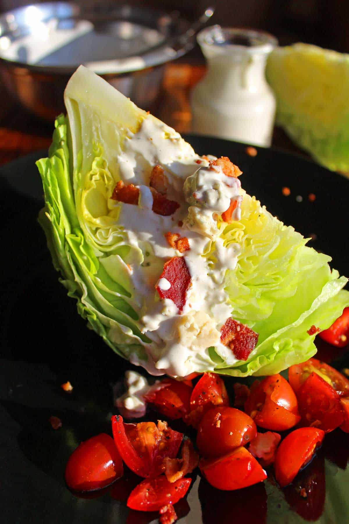 classic wedge salad ready to serve