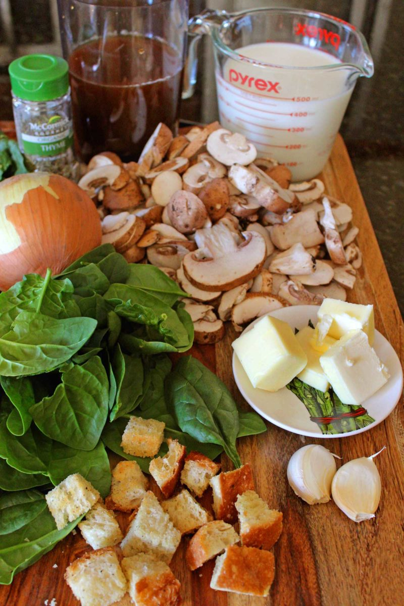 ingredients for the mushroom spinach soup