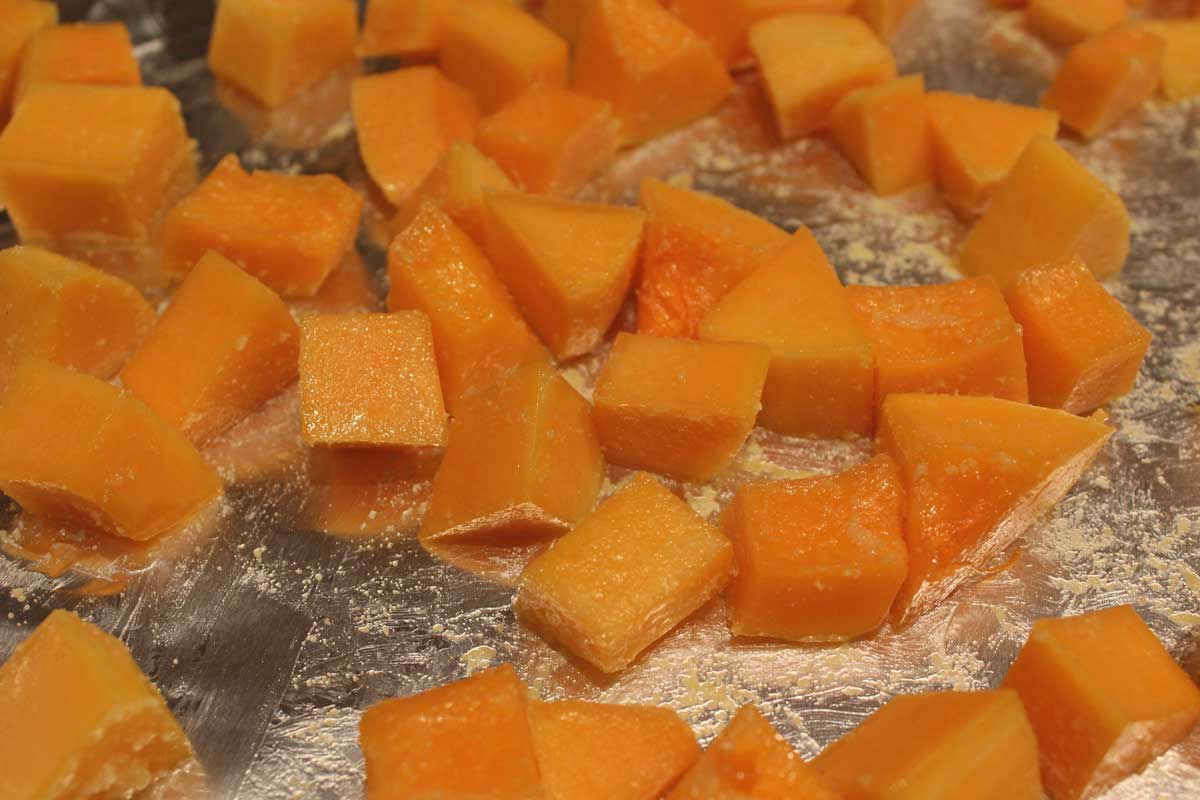 butternut squash on a sheet pan