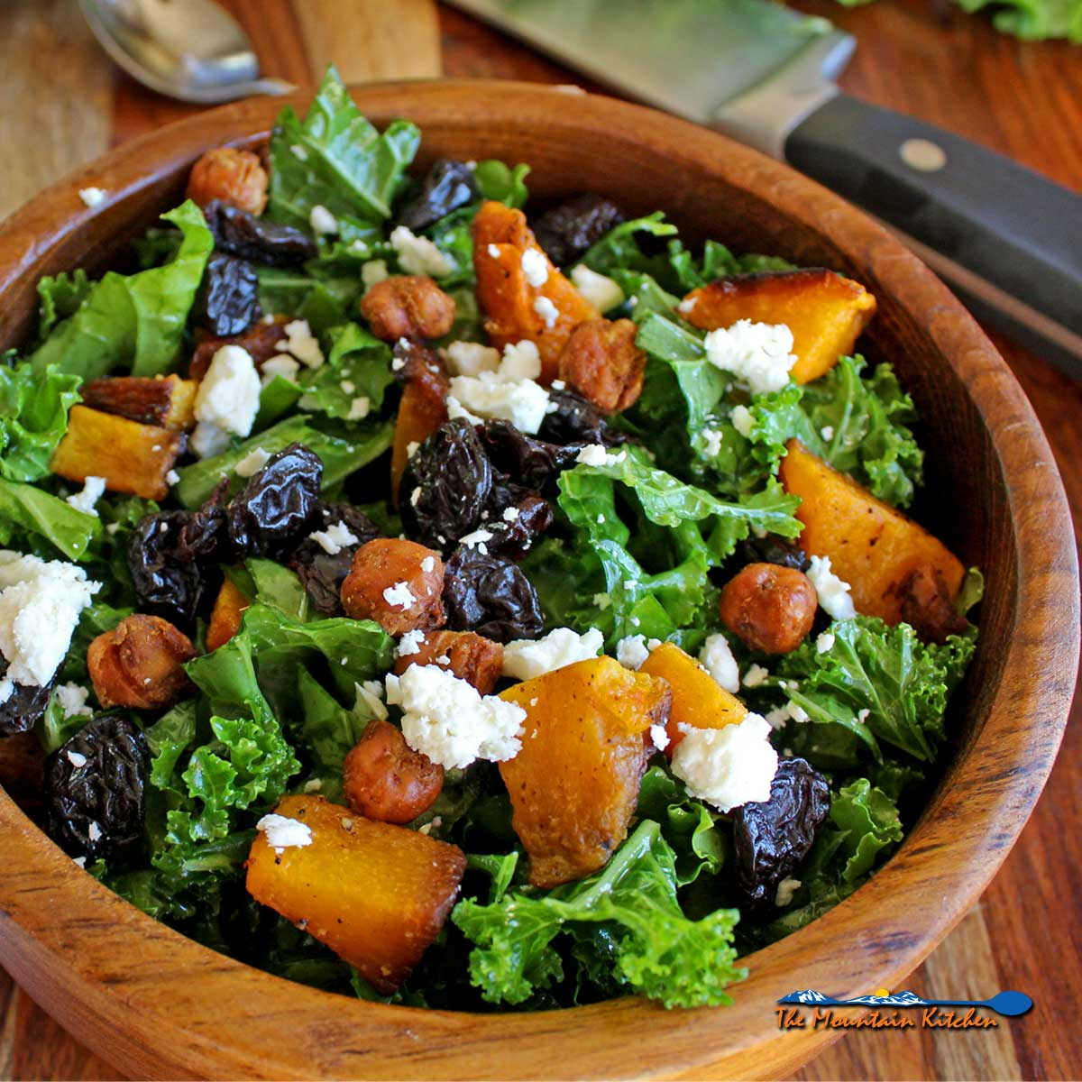 roasted butternut squash and kale salad