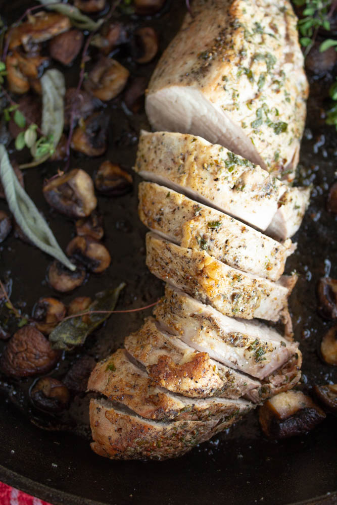 With only a few minutes of prep, this deliciously healthy roasted pork tenderloin with sage and thyme can turn into gourmet meal in under an hour!