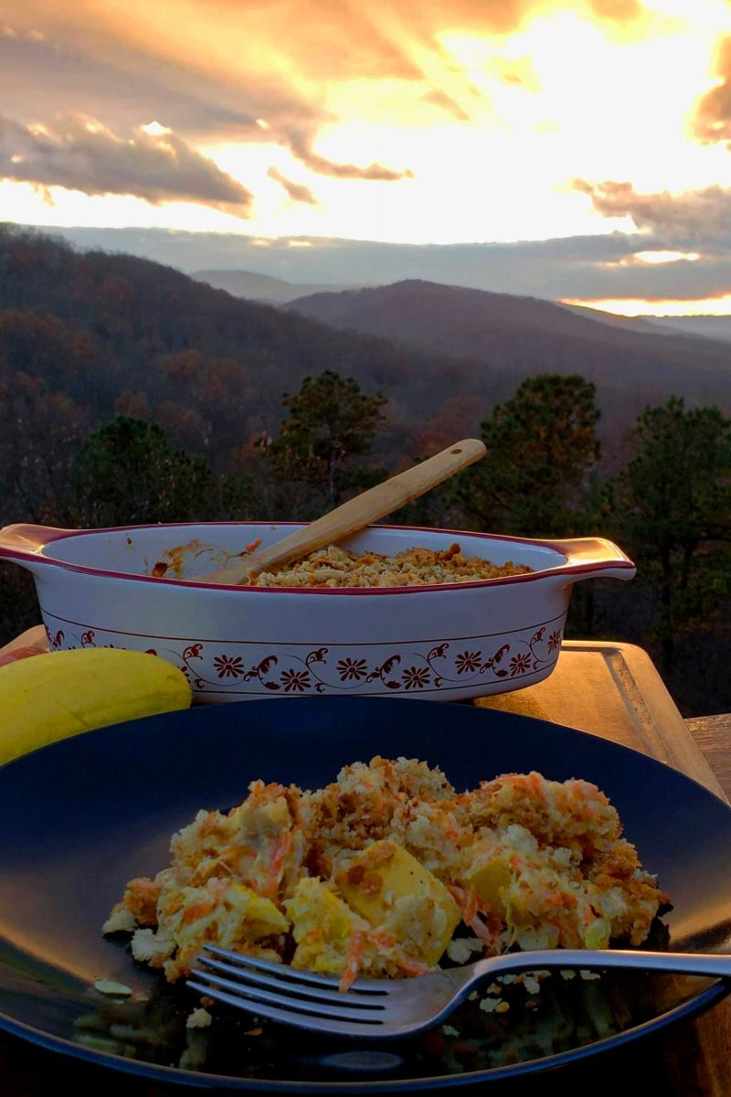 squash casserole with the mountains in the background