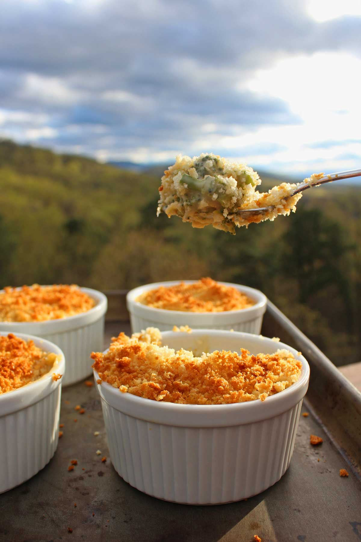 Mini cheesy broccoli casseroles are a versatile side dish, filled with tender broccoli, a made from scratch cheese sauce, topped with crunchy bread crumbs.