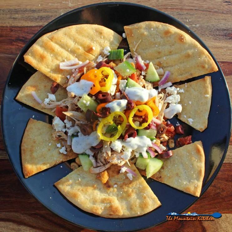 Greek nachos on a plate