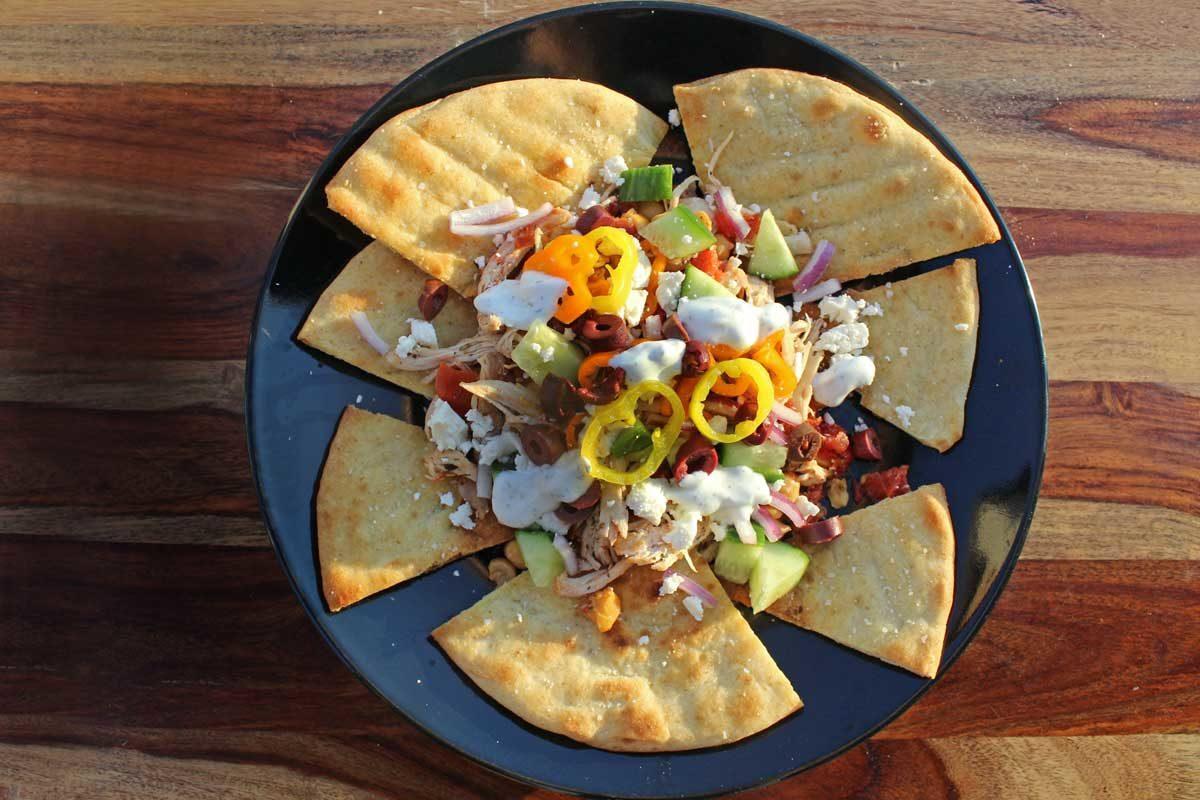 Greek nachos ready to eat