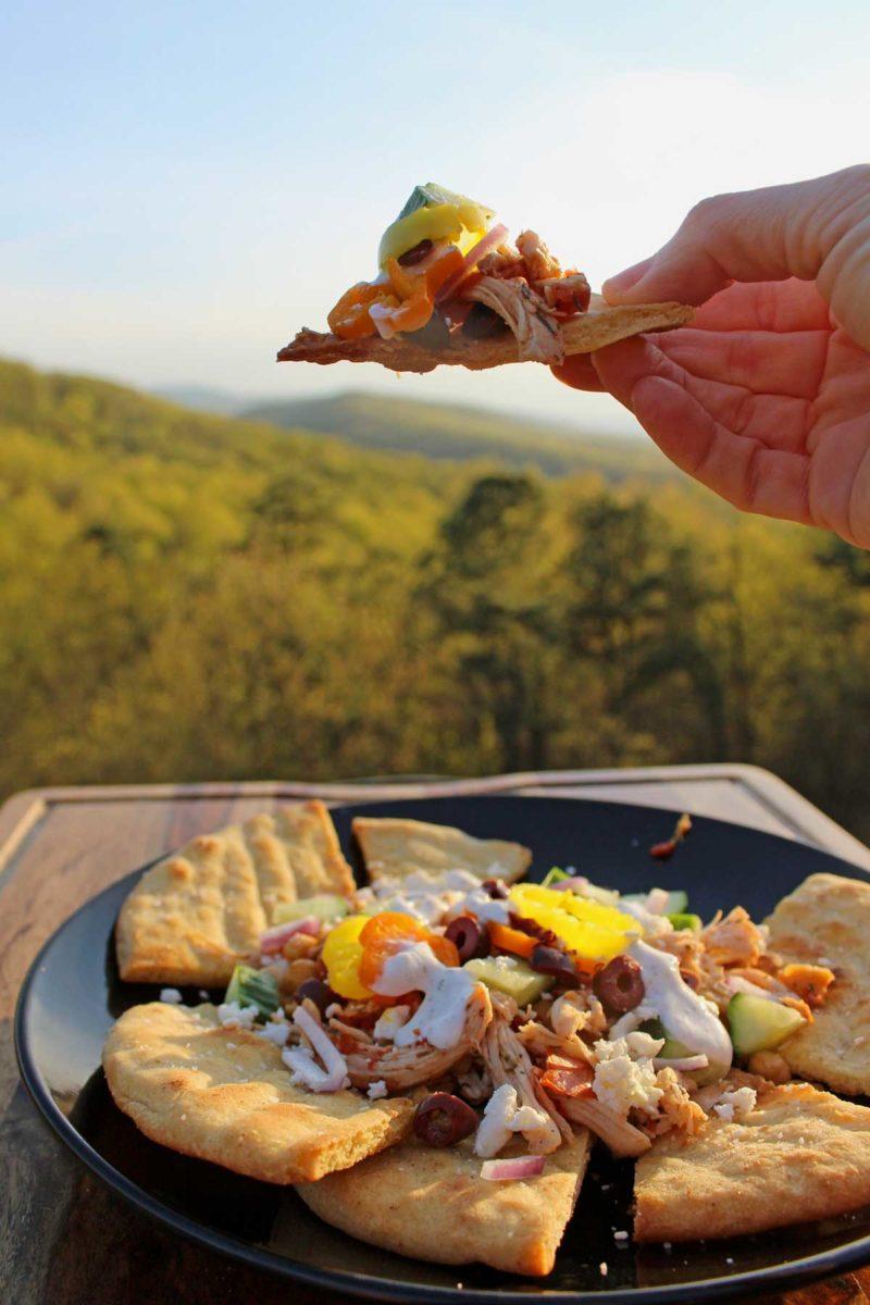 Greek nachos with pita chips