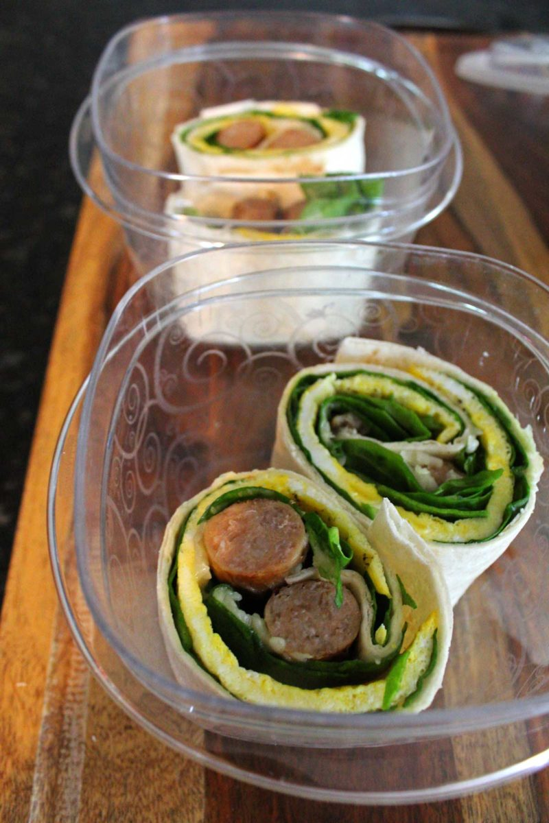 breakfast roll-ups inside meal prep container
