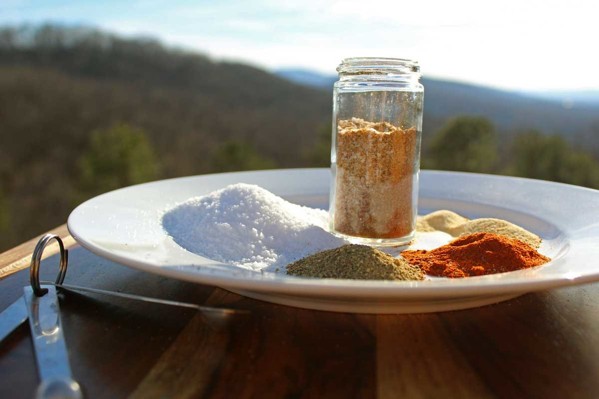 seasoned salt in jar with mountain view