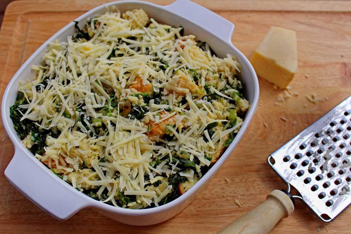 strata fresh grated cheese