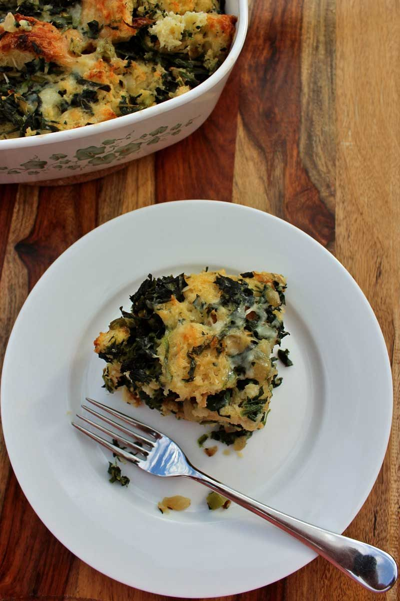 slice of vegetable strata ready to eat