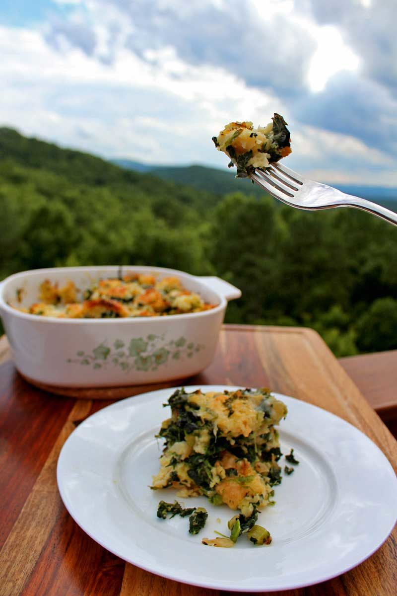 vegetable strata ready to eat with mountain view