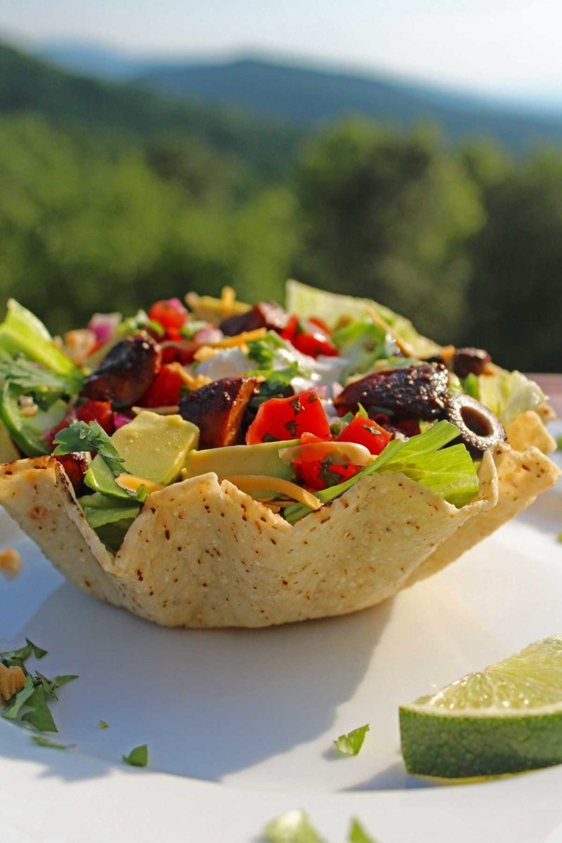 taco salad with mountain view