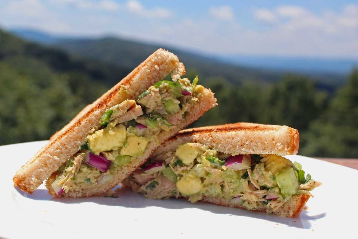 avocado tuna salad sandwich with mountain view