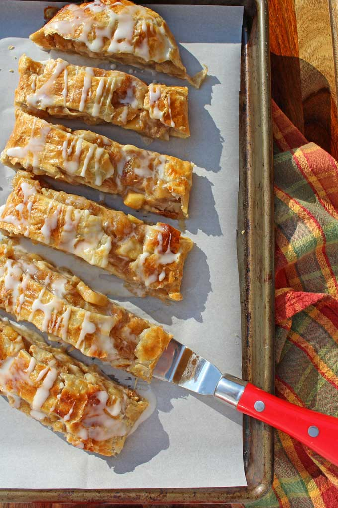 sliced caramel apple strudel