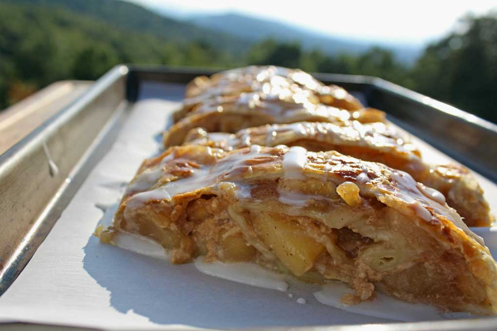 caramel apple strudel with mountain view