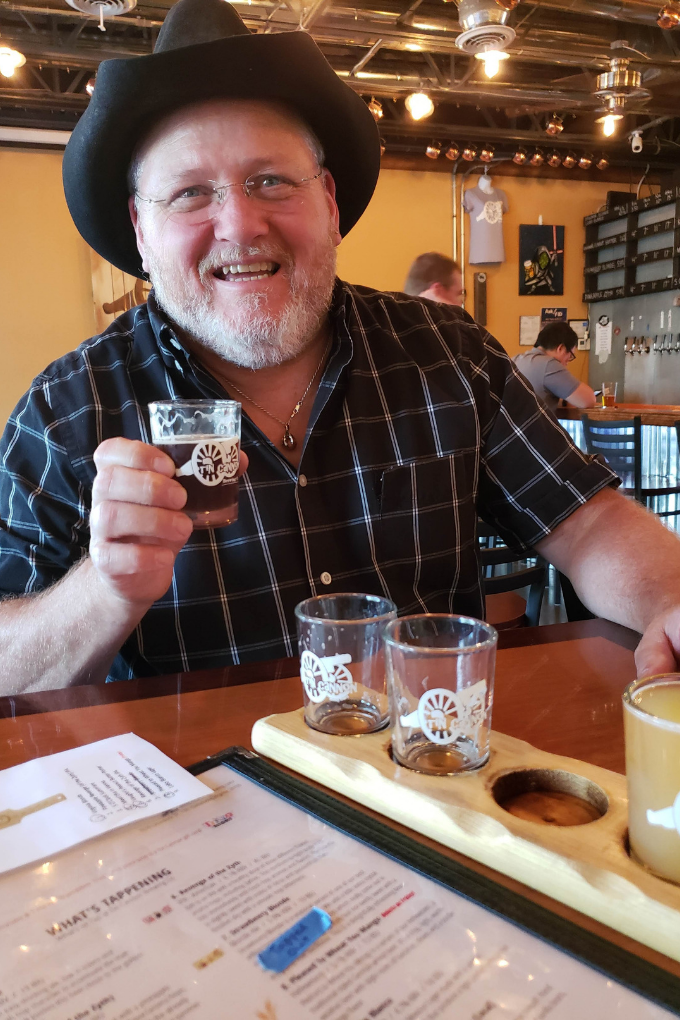 david smiling at beer flight