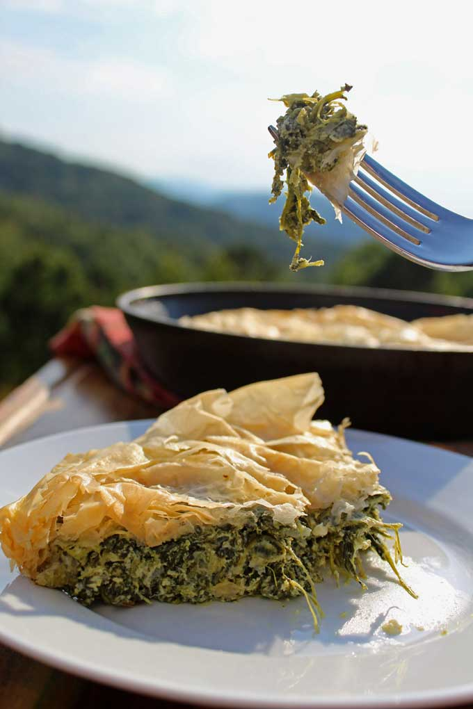 skillet spinach pie with mountain view