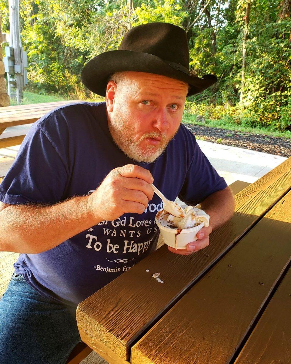 David eating ice cream on Field Trip Friday