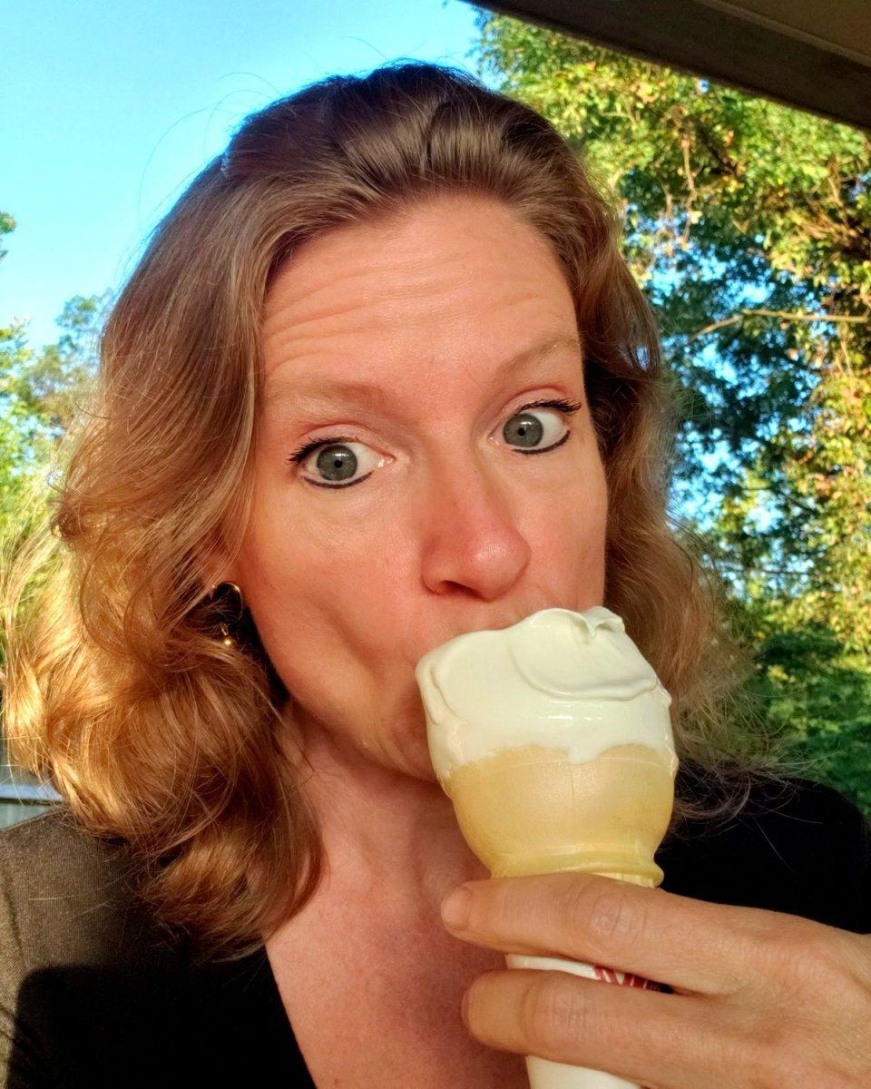 Debbie eating ice cream on Field Trip Friday