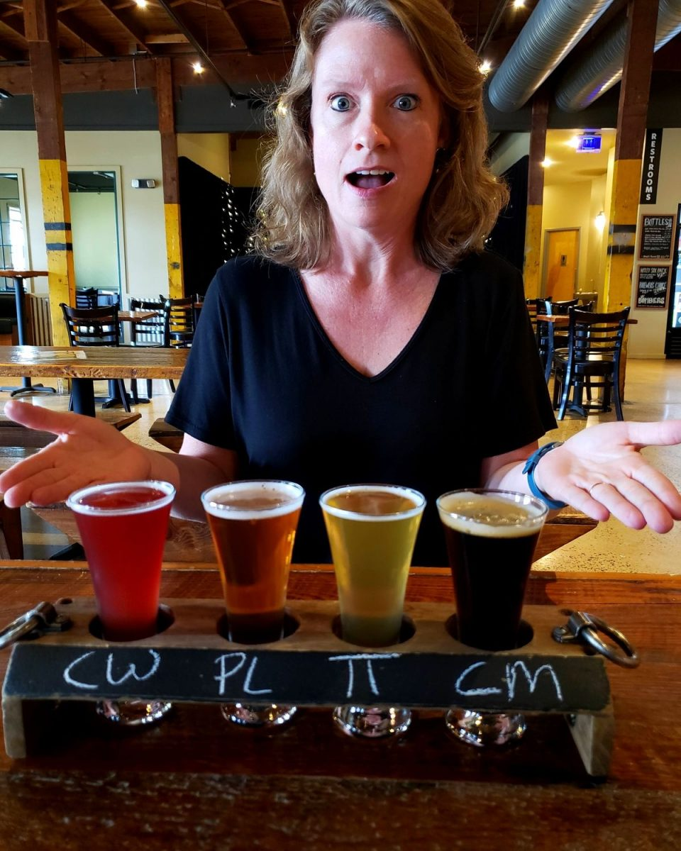 Debbie overwhelmed by beer selection at Old Bust Head Brewing Co. on Field Trip Friday