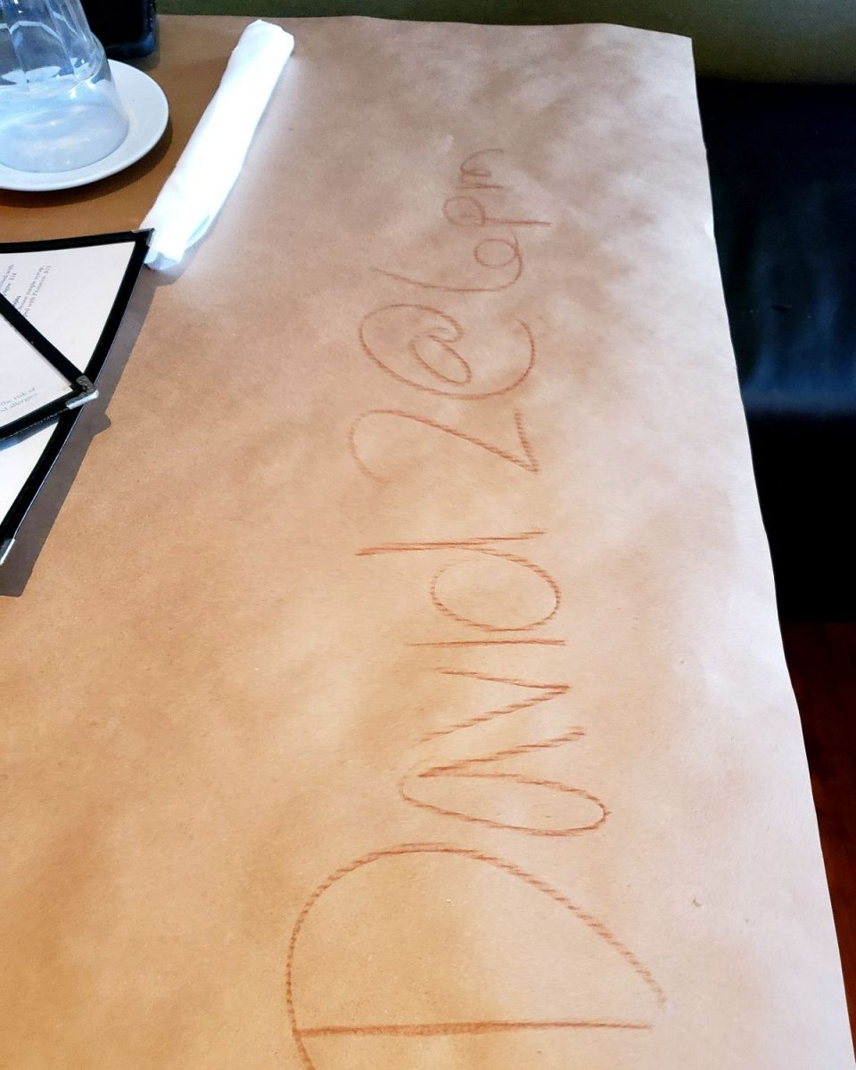 reservation written on table