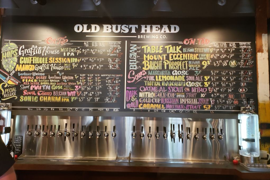 Old Bust Head Brewing Co. menu board