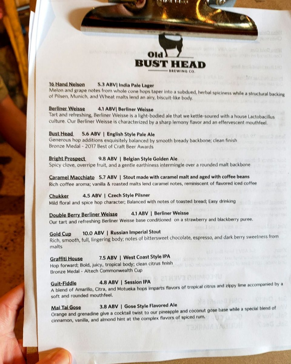 Old Bust Head tasting sheet front