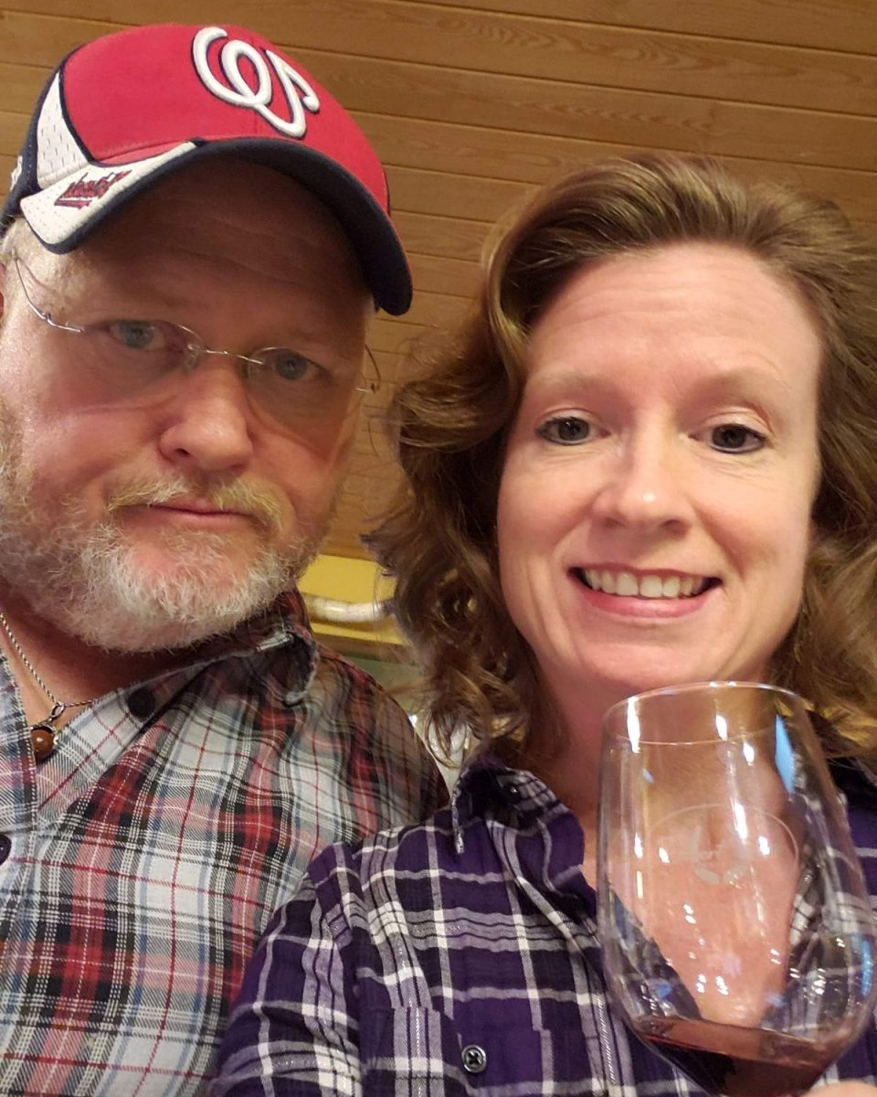 David and Debbie wine tasting at Desert Rose Ranch and Winery