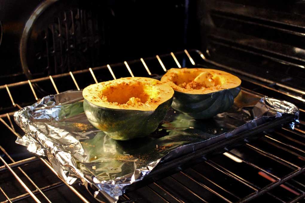 roasting acorn squash inside oven