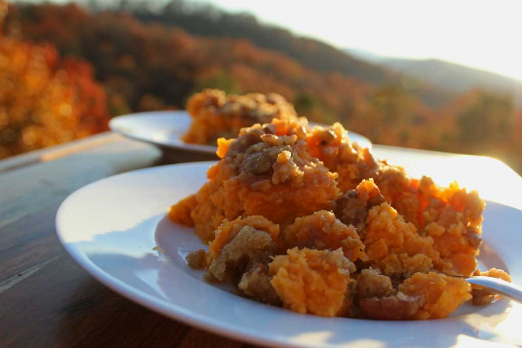 sweet potato casserole with mountain view