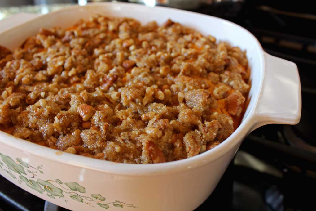 prepared sweet potato casserole in casserole dish