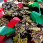 holiday chocolate bark with Christmas ribbon