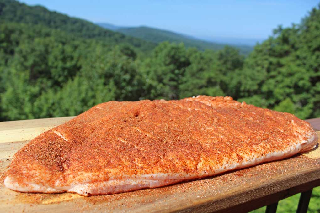 pork belly with spice dry rub and mountain view