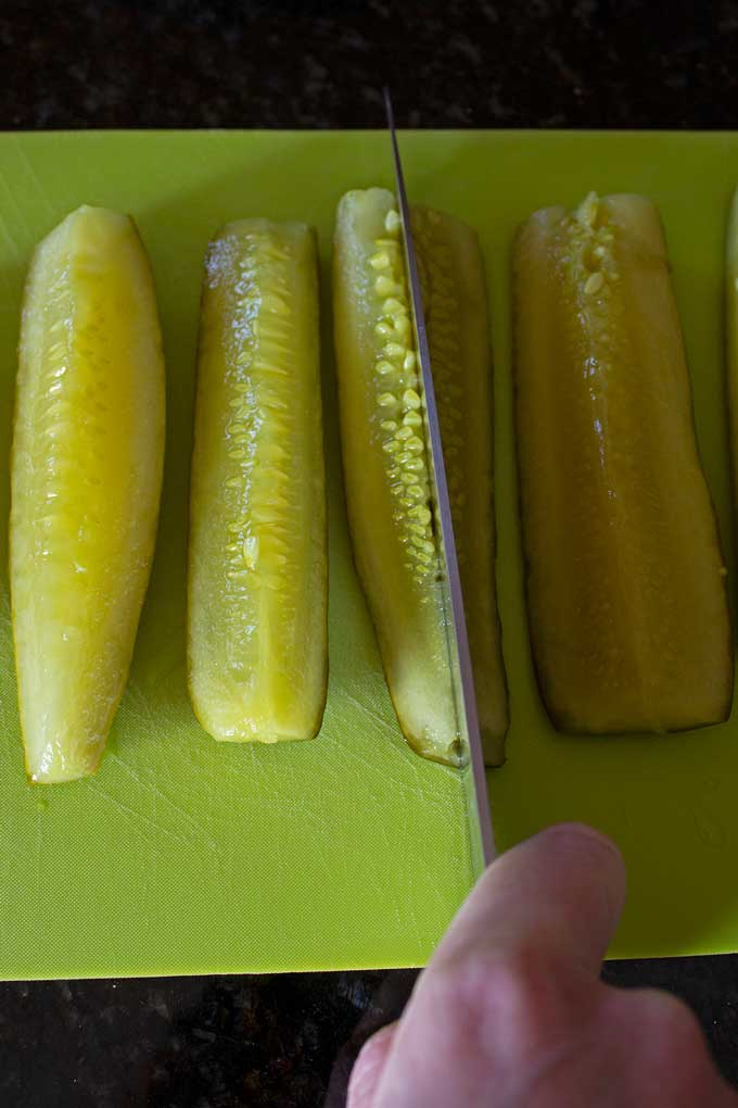 cutting pickles