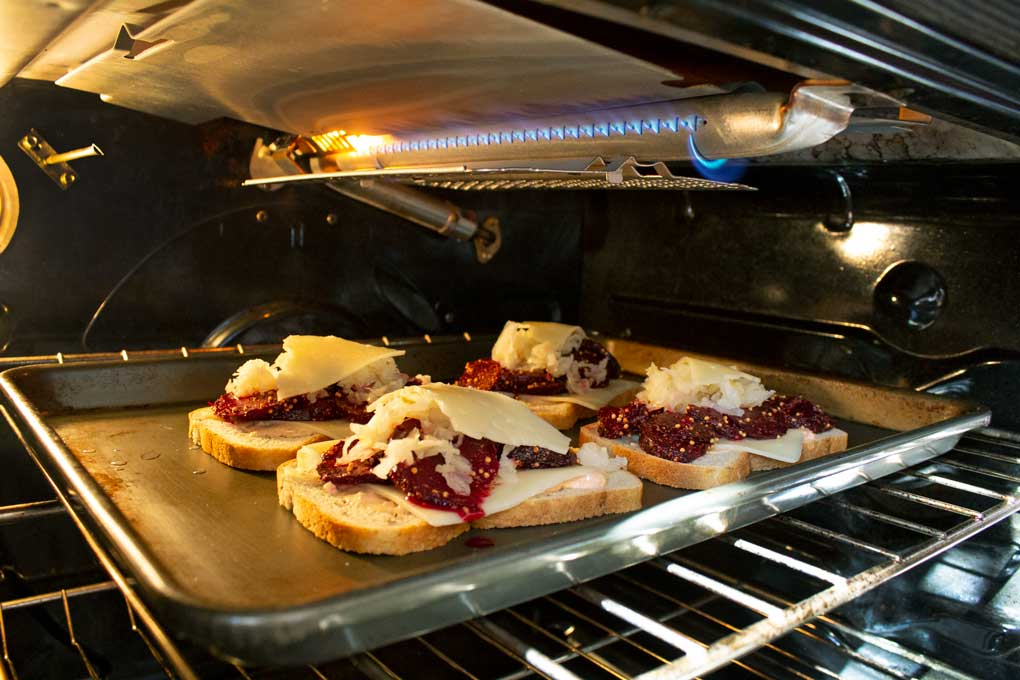 broiling the beet Reuben sandwiches