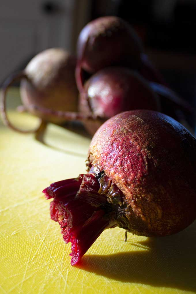 beets laying on cutting board