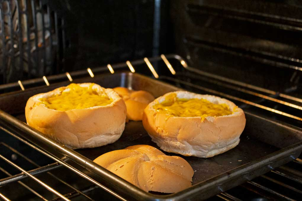 bread bowls baking in oven