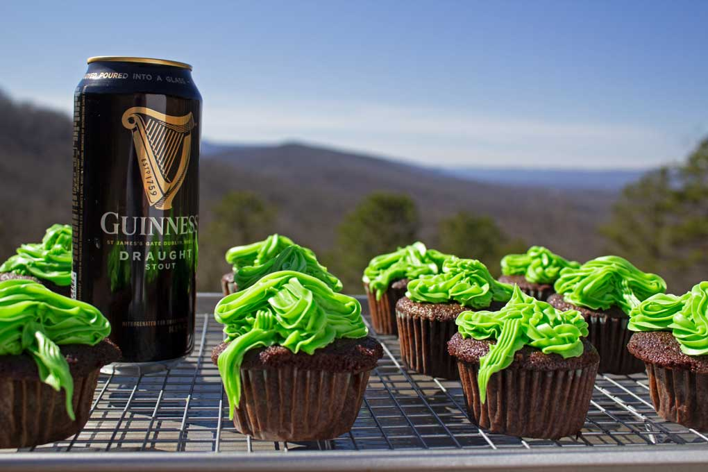 chocolate stout cupcakes with Guinness and mountain view