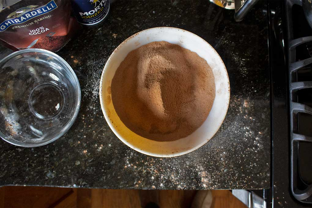 sifted flour and cocoa powder in bowl