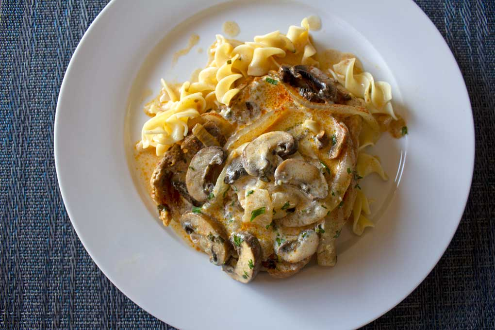 plate of pork chop stroganoff
